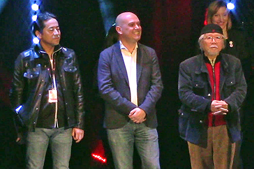 Kazuki Takahashi, Alexis Champion, and Leiji Matsumoto at the MAGIC 2019 opening ceremony