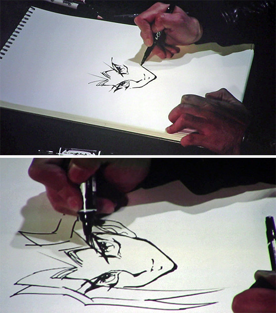 Kazuki Takahashi drawing Yugi's face and head during his live drawing session at MAGIC 2019