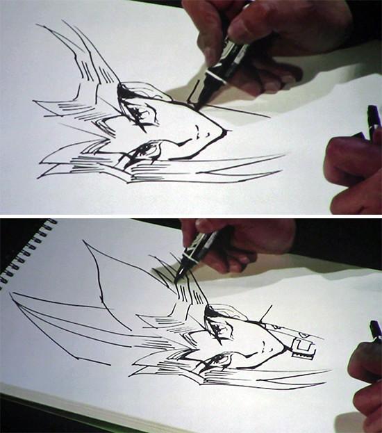 Kazuki Takahashi drawing part of Yugi's shirt collar and the outline of his hair at his live drawing session at MAGIC 2019