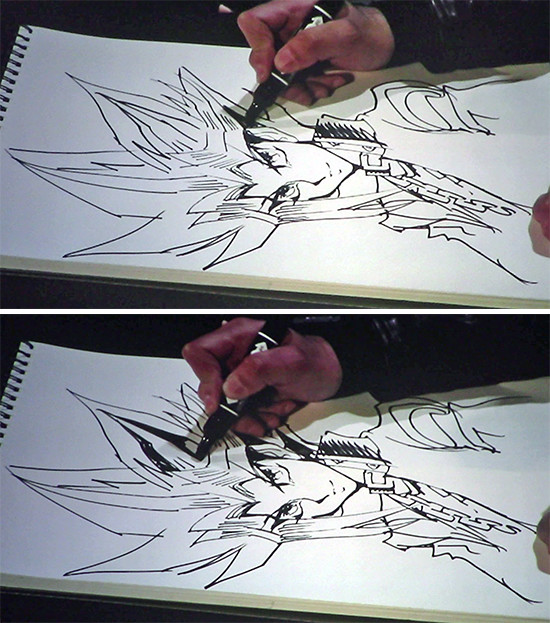 Kazuki Takahashi drawing more of Yugi's hair and adding layers at his live drawing session at MAGIC 2019