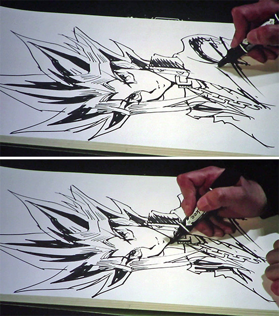 Kazuki Takahashi shading more of Yugi's clothes at his live drawing session at MAGIC 2019