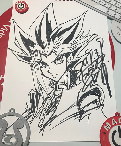 Close-up of Kazuki Takahashi's Yugi illustration drawn live at MAGIC 2019