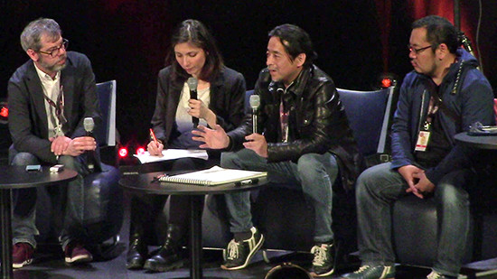 Matthieu Pinon, Sahé Cibot, Kazuki Takahashi, and Naoki Kawashima at Takahashi's Q&A panel at MAGIC 2019