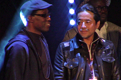 Kazuki Takahashi and Wesley Snipes at the MAGIC 2019 opening ceremony