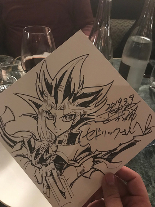 Kazuki Takahashi's drawing of Yugi for Cédric Biscay at MAGIC 2019