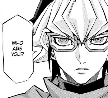 Reiji Akaba asking Adam who he is in Yu-Gi-Oh! ARC-V manga chapter 32