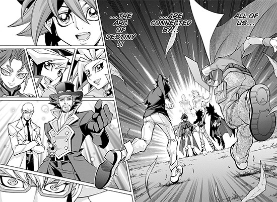 Yuya Sakaki and Reiji Akaba running toward an Action Card and seeing a vision of their family members in Yu-Gi-Oh! ARC-V manga chapter 45