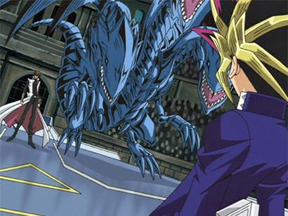 Yugi facing Kaiba and Blue-Eyes Ultimate Dragon in episode 134