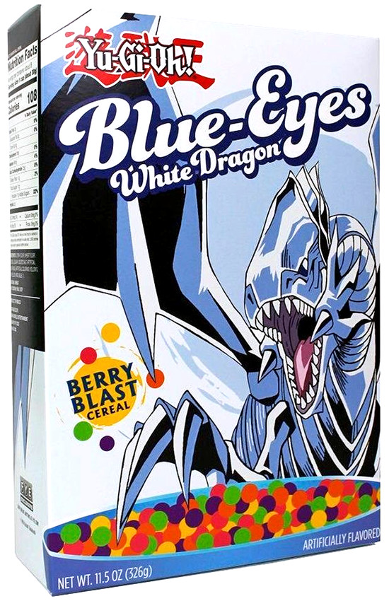 Blue-Eyes White Dragon Berry Blast Yu-Gi-Oh! cereal box from FYE