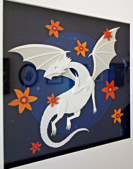 Blue-Eyes White Dragon paper collage by Meghan Stratman at the Gallery1988 Yu-Gi-Oh! art show