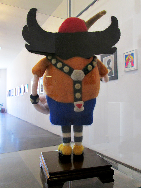 Rear view of Bronk needlefelt by Ed Mironiuk at the Gallery1988 Yu-Gi-Oh! art show