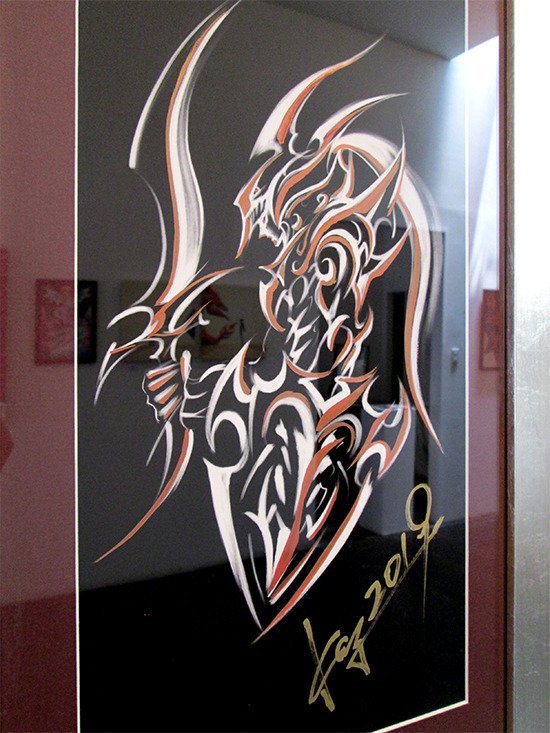Kazuki Takahashi's new artwork of Black Luster Soldier at the Gallery1988 Yu-Gi-Oh! art show