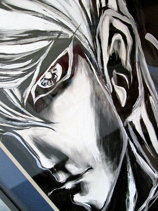 Close-up of Kazuki Takahashi's new artwork of Seto Kaiba at the Gallery1988 Yu-Gi-Oh! art show