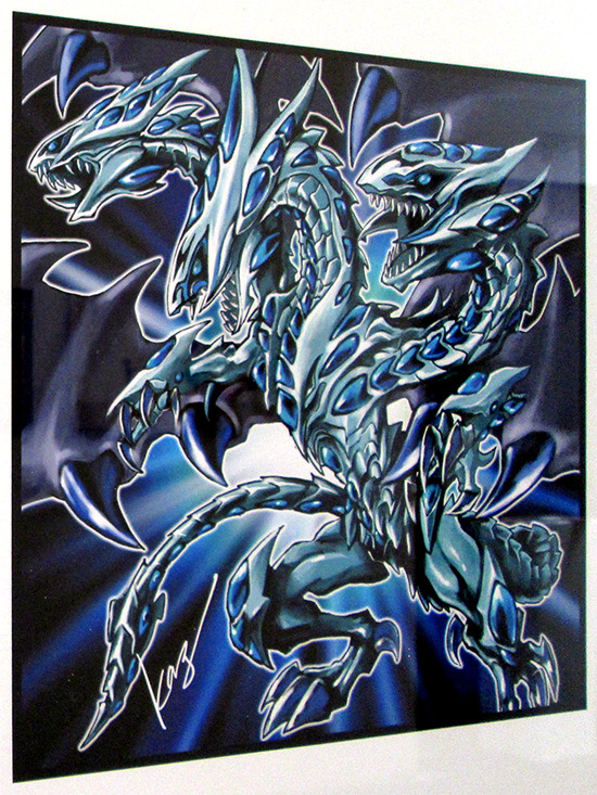 Kazuki Takahashi's illustration of Blue-Eyes Alternative Ultimate Dragon at the Gallery1988 Yu-Gi-Oh! art show