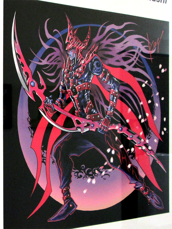 Kazuki Takahashi's illustration of Magician of Black Chaos MAX at the Gallery1988 Yu-Gi-Oh! art show