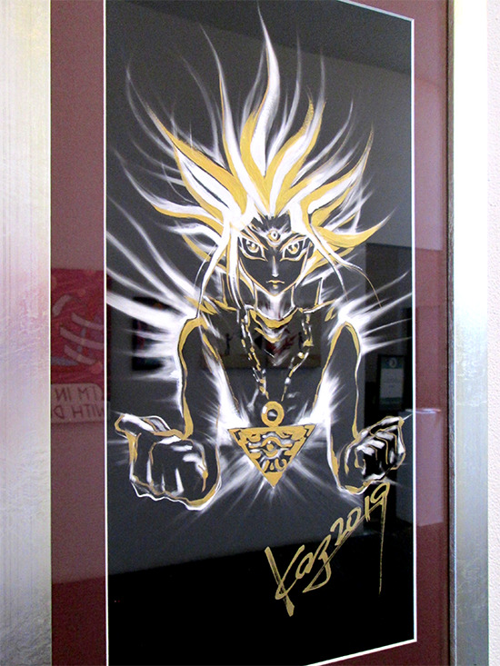 Kazuki Takahashi's new artwork of Yugi at the Gallery1988 Yu-Gi-Oh! art show