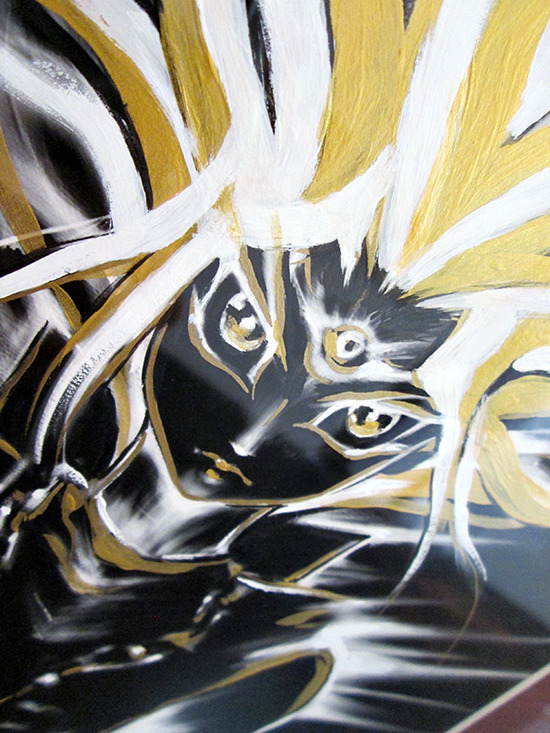 Close up of Kazuki Takahashi's new artwork of Yugi at the Gallery1988 Yu-Gi-Oh! art show
