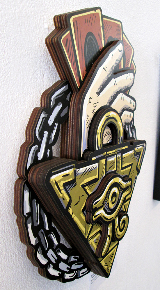 Side view of Millennium Puzzle by Brad Albright at the Gallery1988 Yu-Gi-Oh! art show