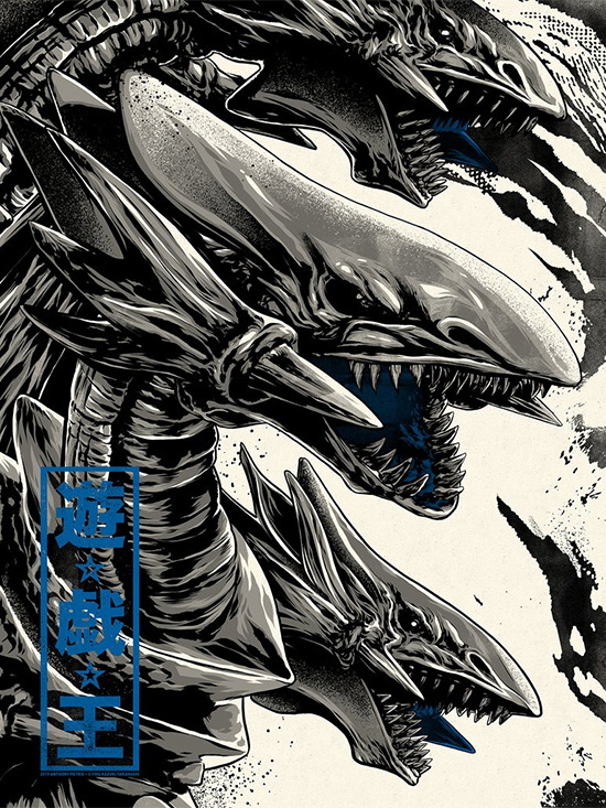 Variant screen print of Blue-Eyes Ultimate Dragon by Anthony Petrie from the Gallery1988 Yu-Gi-Oh! art show