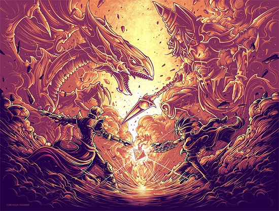 Variant screen print of It's time to duel. by Dan Mumford from the Gallery1988 Yu-Gi-Oh! art show