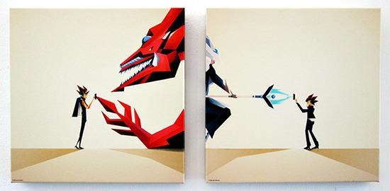 Yami Yugi x Slifer, Yugi Mutou x Silent Magician Diptych by Dan Matutina at at the Gallery1988 Yu-Gi-Oh! art show