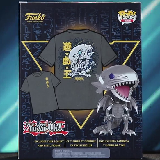 Back of the BoxLunch-exclusive Blue-Eyes White Dragon Funko Pop! and T-shirt box