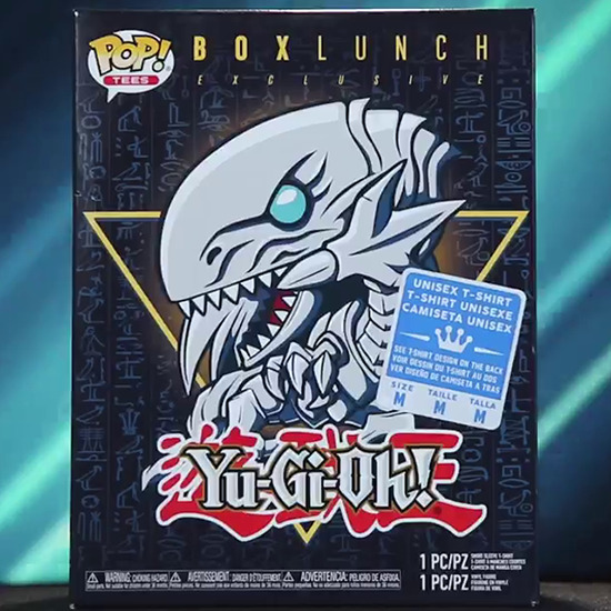 Front of the BoxLunch-exclusive Blue-Eyes White Dragon Funko Pop! and T-shirt box