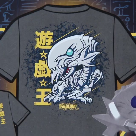 Close-up of the T-shirt shown on the BoxLunch-exclusive Blue-Eyes White Dragon Funko Pop! box