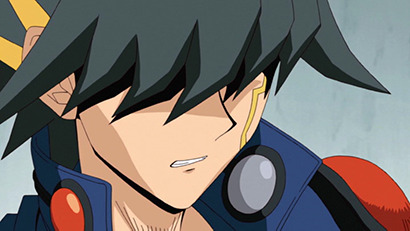 Yusei grimacing in Yu-Gi-Oh! 5D's episode 47