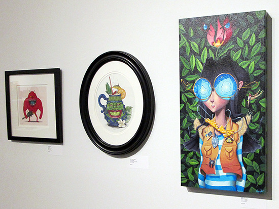 ABAKI, Tiki of Greed, and Hummingbird on display at the Yu-Gi-Oh! Tribute Art Show NYC