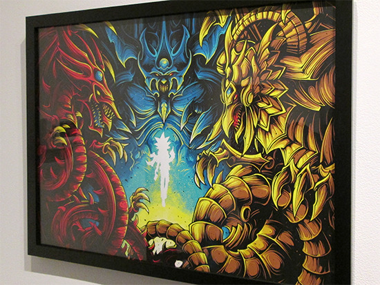 Behold, The Legendary Gods. by Dan Mumford at the Yu-Gi-Oh! Tribute Art Show NYC