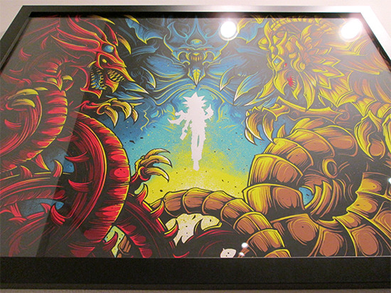 Low angle shot of Behold, The Legendary Gods. by Dan Mumford at the Yu-Gi-Oh! Tribute Art Show NYC