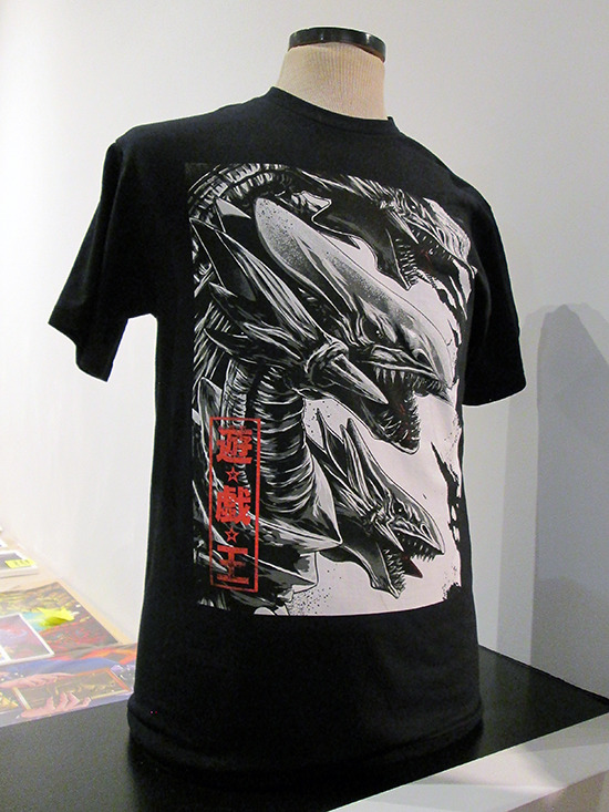 Anthony Petrie's Blue-Eyes Ultimate Dragon T-shirt on display at the Yu-Gi-Oh! Tribute Art Show NYC