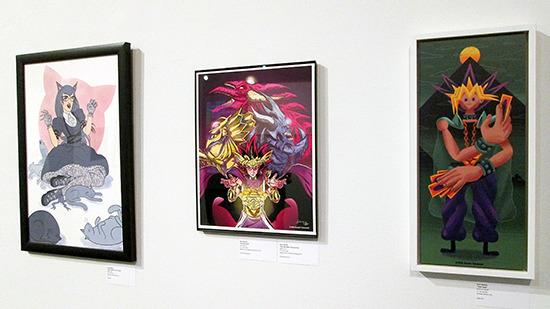 Cathy Catherine and Friends, Pharaoh Atem, and Yami Yugi on display at the Yu-Gi-Oh! Tribute Art Show NYC