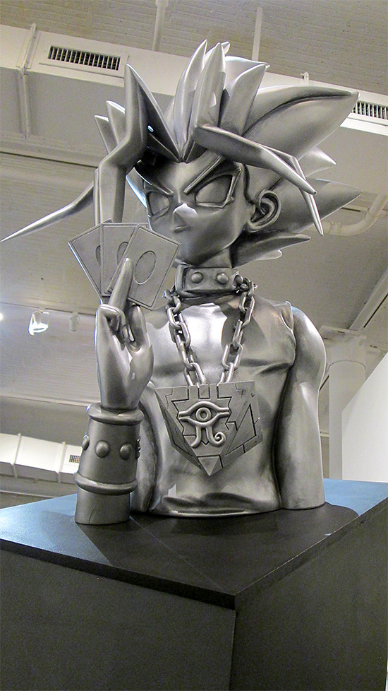 Close-up of the Duel Time sculpture at the Yu-Gi-Oh! Tribute Art Show NYC