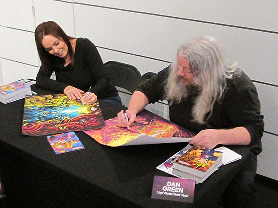 Erica Schroeder and Dan Green signing autographs at the Yu-Gi-Oh! Tribute Art Show NYC