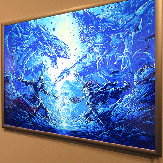It's time to duel. film print in lightbox by Dan Mumford at the Yu-Gi-Oh! Tribute Art Show NYC