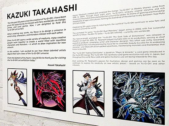 Kazuki Takahashi's message and art display at the Yu-Gi-Oh! Tribute Art Show NYC