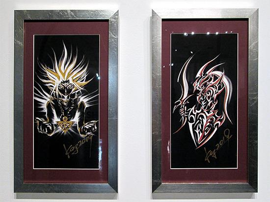 Kazuki Takahashi's new artwork of Yugi and Black Luster Soldier at the Yu-Gi-Oh! Tribute Art Show NYC