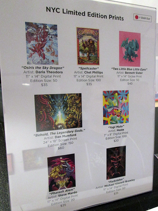 Limited Edition prints for sale at the Yu-Gi-Oh! Tribute Art Show NYC