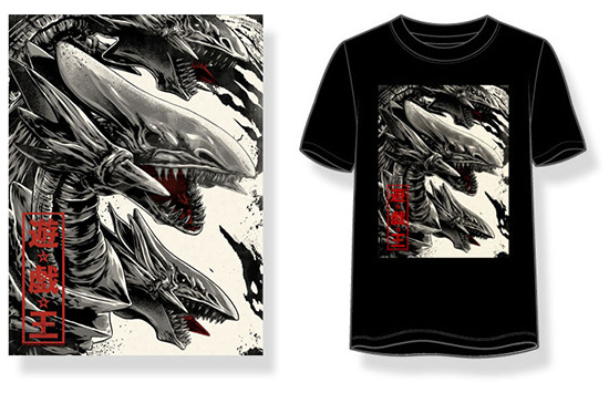 New poster and T-shirt based on Anthony Petrie's Blue-Eyes Ultimate Dragon