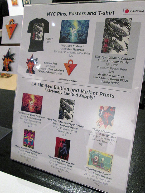 Other items for sale at the Yu-Gi-Oh! Tribute Art Show NYC