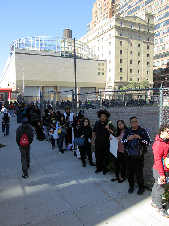 The massively long line for the voice actors' signing event at the Yu-Gi-Oh! Tribute Art Show NYC