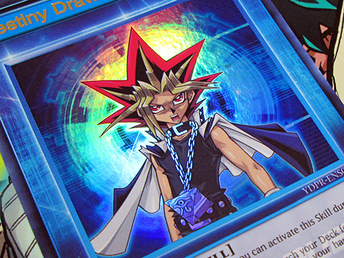 Close-up of the Yu-Gi-Oh! Speed Duel Destiny Draw Skill card promo included with the Shonen Jump Fall 2019 Jump Pack