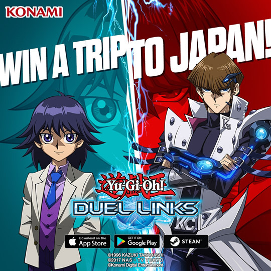 Yu-Gi-Oh! Duel Links Win a Trip to Japan sweepstakes ad image featuring Kaiba and Mokuba