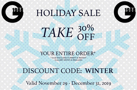 Banner ad for Gallery1988's 2019 holiday sale
