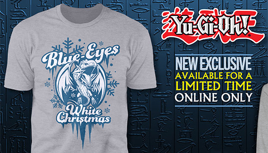 ShopYuGiOh.com ad showing the Blue-Eyes White Christmas shirt design