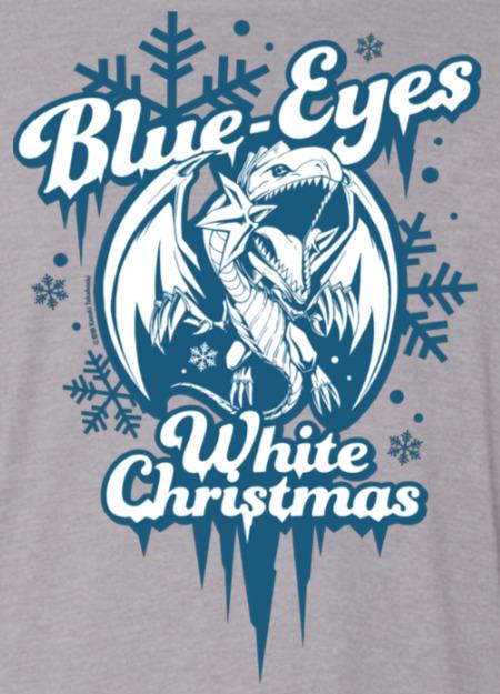 Close-up of the Blue-Eyes White Christmas shirt design