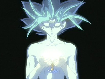 Yami Yugi holding a glowing chalice in episode 181