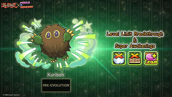 Kuriboh and its level limit breakthrough and super awakenings in Puzzle & Dragons